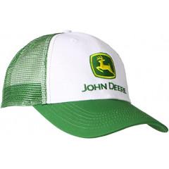 JOHN DEERE WHITE CAP WITH GREEN PEAK AND GREEN MESH AT BACK MEN