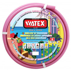 Watex 8 Year Garden Hose Pipe - Pink - 12mm x 20m With Fittings