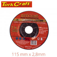 2 IN 1 GRINDING & CUTTING DISC 115MM X 2.8 X 0.22 STEEL/SS/PVA/ALU/STO