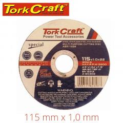 CUTTING DISC MULTI PURPOSE 115 X1.0 X 22.2MM FOR STEEL SS PVA STONE