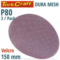 DURA MESH ABR.DISC 150MM HOOK & LOOP 80GRIT 3PC FOR SANDER POLISHER