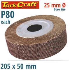 FLAP WHEEL 205 X 50 X 25MM BORE 80 GRIT PER EACH
