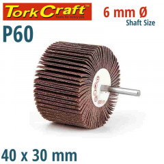 FLAP WHEEL 40 X 30 X 6MM SHAFT 60 GRIT PER EACH (35 PER BOX)