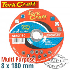 GRINDING DISC MULTI PURPOSE 180 X 8.0 X 22.2MM STEEL, S/STEEL, CONCRET