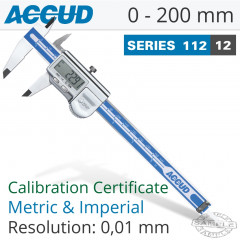 ACCUD COOLANT PROOF DIGITAL CALIPER WITH CALIBRATION CERT 0-200MM