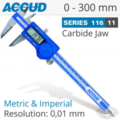 DIGITAL CALIPER WITH CARBIDE TIPPED JAWS 0-300MM/0-12'