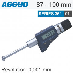 DIGITAL THREE POINTS INTERNAL MICROMETER WITH SETTING RING 87-100MM/3.