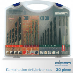 DRILL AND SCREWDRIVER SET 30 PIECE IN CARRY CASE STEEL MASONRY WOOD