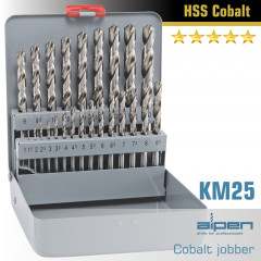 COBALT DRILL BIT SET 25 PIECE 1-13MM X 0.5  IN METAL CASE