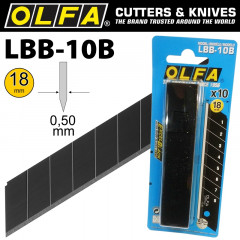OLFA BLADES EXCEL BLACK 10/PK CARDED ULTRA SHARP 18MM