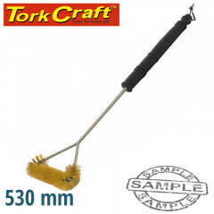 BRAAI BBQ THREE SIDE BRASS WIRE BRUSH 530MM HANDLE 21' TCW