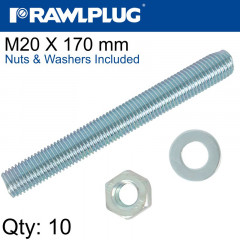 STUD M 20 X 170 X10 PER BOX WITH NUTS AND WASHERS
