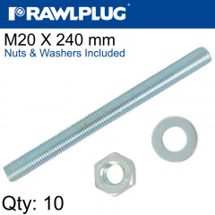 STUD M 20 X 240 X10 PER BOX WITH NUTS AND WASHERS