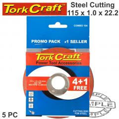 4 + 1 FREE CUTTING DISC STEEL 115 X 1.0 X 22.2MM