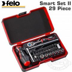 FELO 060 SMART II RATCH. SET 29PC BIT/SOCK. 1/4' STRONGBOX