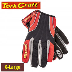 MECHANICS GLOVE X LARGE SYNTHETIC LEATHER REINFORCED PALM SPANDEX RED