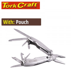 MULTITOOL SILVER MINI WITH LED LIGHT WITH NYLON POUCH IN BLISTER