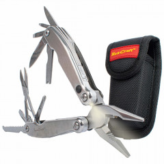 MULTITOOL SILVER WITH LED LIGHT & NYLON POUCH IN BLISTER