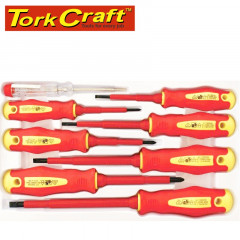8PC SCREWDRIVER & TESTER SET ELECTRICIANS INSULATED VDE