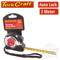MEASURING TAPE SELF LOCK 3M X 16MM S/S & RUBBER CASING MATT FINISH