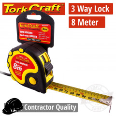 MEASURING TAPE  MULTI LOCK 8M X 25MM RUBBER CASING MATT FINISH