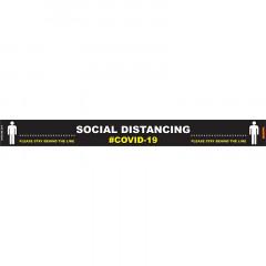 BLACK BEHIND LINE - 800MM X 80MM SOCIAL DISTANCING STRIPS