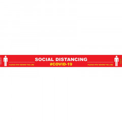 RED BEHIND LINE - 800MM X 80MM SOCIAL DISTANCING STRIPS