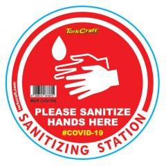 RED SANITISE HERE - 170MM ROUND AWARENESS GRAPHIC