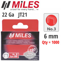 GALV STAPLES 22G JT21 6MM X 1000PCS MILES NO3