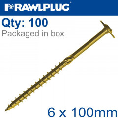 TIMBER CONSTRUCTION SCREW 6X100 MM ZINC PLATED BOX OF 100