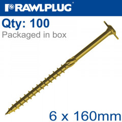 TIMBER CONSTRUCTION SCREW 6X160 MM ZINC PLATED BOX OF 100
