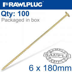 TIMBER CONSTRUCTION SCREW 6X180 MM ZINC PLATED BOX OF 100