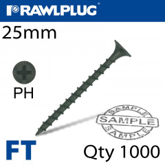 DRYWALL SCREW COARSE THREAD 3.5MMX25MM X1000-BOX