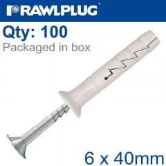 NYL HAMMER-IN FIXING 6X40MM A2 SS+ CSK HEAD X100 -BOX