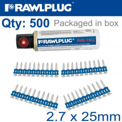 PINS FOR CONCRETE 2.7MMX25MM X500 PER BOX + 1 FUEL CELL