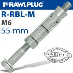 RAWLBOLT M6X55X10MM X50-BOX (12MM HOLE)