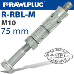 RAWLBOLT M10X75X10MM X50-BOX (16MM HOLE)