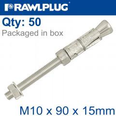 PROJECTING BOLT M10X90X15MM X50 -BOX