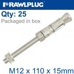 PROJECTING BOLT M12X110X15MM X25 -BOX