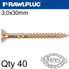 R-TS HARDENED SCREW 3.0X30MM X40 PER BAG