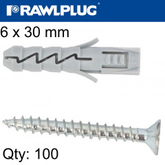 EXPANSION PLUG FIX 6X30MM WITH SCREW 100PSC PER TUB