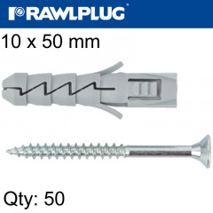 EXPANSION PLUG FIX 10X50MM WITH SCREW 50PSC PER TUB