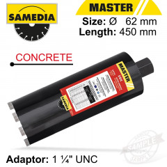 DIAMOND CORE BIT 62MM X 450MM X 1 1/4' CONCRETE MASTER DBK
