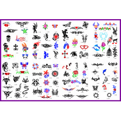 BOOK 01 TATTOO STENCILS 100 DESIGNS PER BOOK 4 DESIGNS ON EA  A4 SHEET