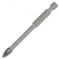 GLASS & TILE DRILL 10MM 4 FLUTE WITH HEX SHANK