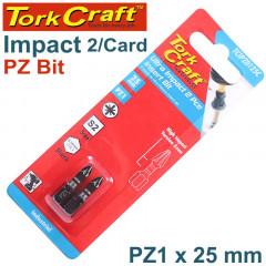 IMPACT POZI.1 X 25MM INS.BIT 2/CARD
