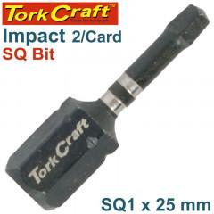 IMPACT SQUARE RECESS INS. BIT NO.1X25MM 2/CARD