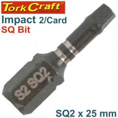 IMPACT SQUARE RECESS INS. BIT NO.2 X25MM 2/CARD