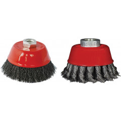 WIRE CUP BRUSH 75MM X M14 CRIMPED & KNOTTED SET 2PCE FOR115 ANGLE GRI